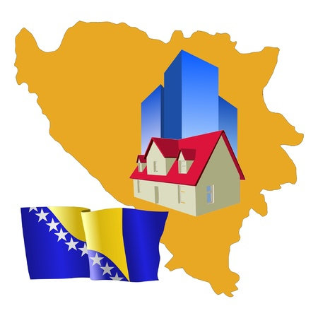 bosnia and herzegovina: hotel in Bosnia and Herzegovina Illustration
