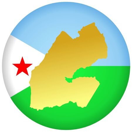 button in national colours of Djibouti Illustration
