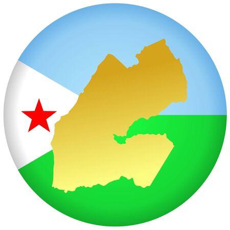 djibouti: button in national colours of Djibouti Illustration
