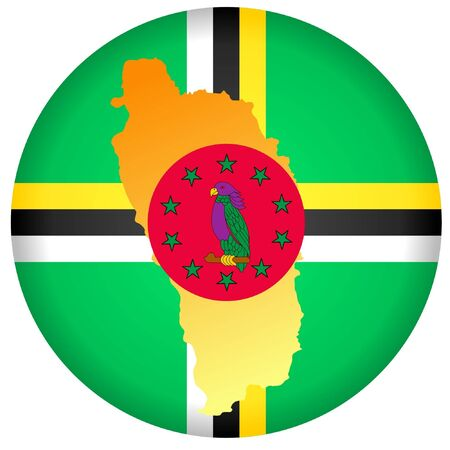 dominica: button in national colours of Dominica