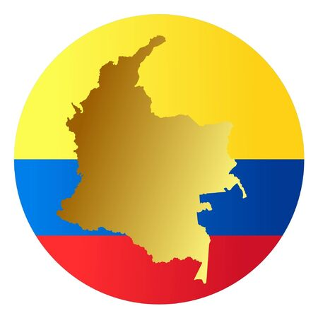 button in national colours of Colombia Vector