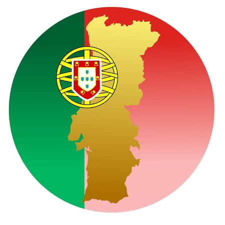 button in national colours of Portugal Vector