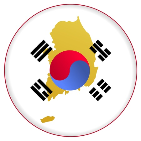 button in national colours of South Korea Vector