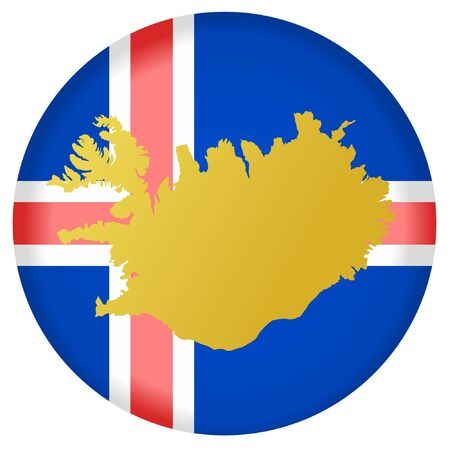 button in national colours of Iceland Vector