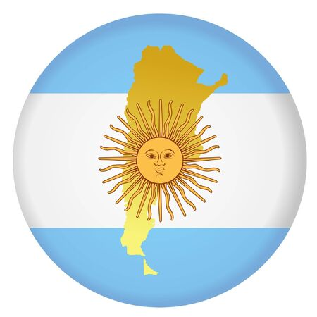 button in national colours of Argentina Vector