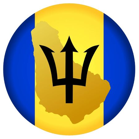 button in national colours of Barbados Illustration