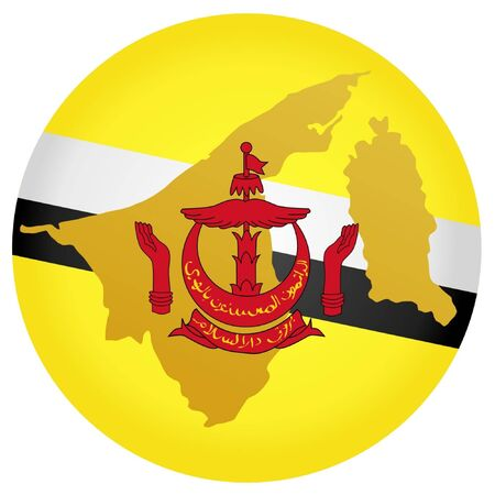 map of brunei: button in national colours of Brunei Illustration
