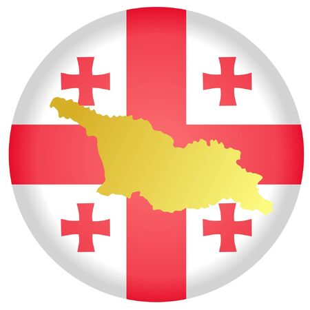 button in national colours of Georgia Vector