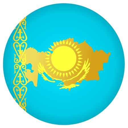 kazakhstan: button in national colours of Kazakhstan Illustration