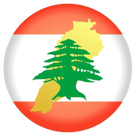 button in national colours of Lebanon Vector