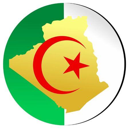 algeria: button in national colours of Algeria