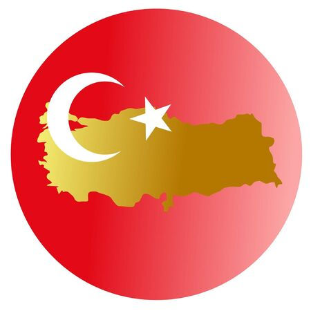 button in national colours of Turkey Stock Vector - 11832814