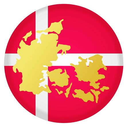 button in national colours of Denmark Vector