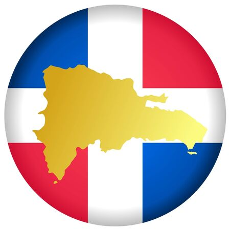 button in national colours of Dominican Republic Vector