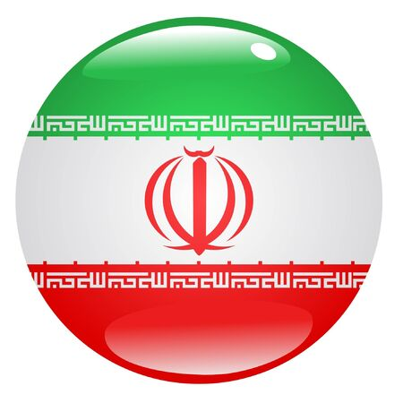 button in national colours of Iran Vector