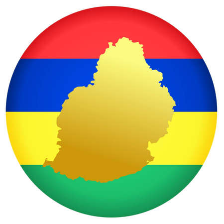 mauritius: button in national colours of Mauritius