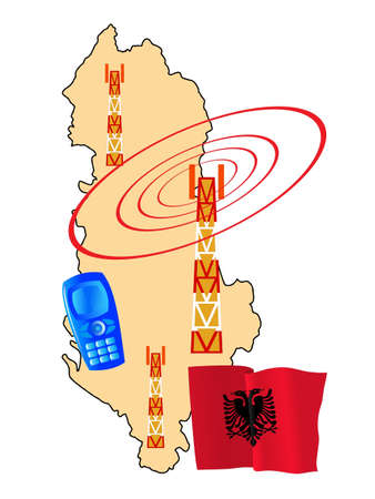albanie: connexion mobile de l'Albanie Illustration