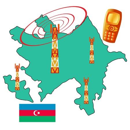 azerbaijan: mobile connection of Azerbaijan Illustration
