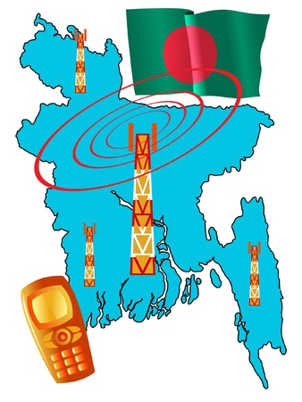 roaming: mobile connection of Bangladesh Illustration