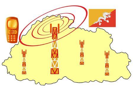 bhutan: mobiele verbinding van Bhutan Stock Illustratie