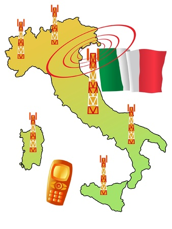 roaming: mobile connection of Italy Illustration