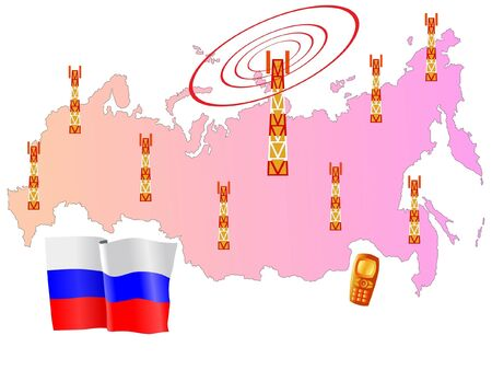 roaming: mobile connection of Russia Illustration