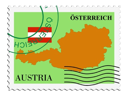 austria map: mail tofrom Austria Illustration