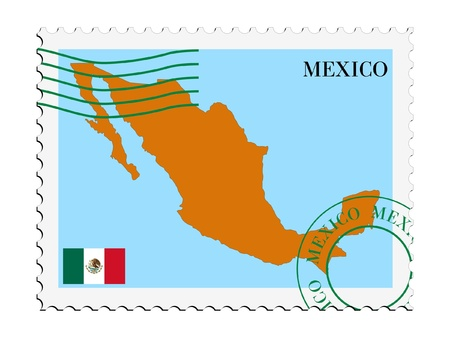 map of mexico: mail tofrom Mexico Illustration
