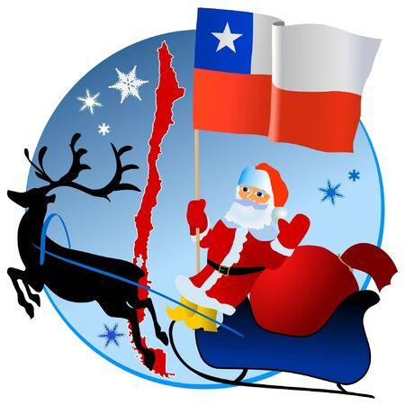 bandera de chile: Feliz Navidad, Chile! Vectores