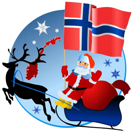 norway flag: Merry Christmas, Norway! Illustration