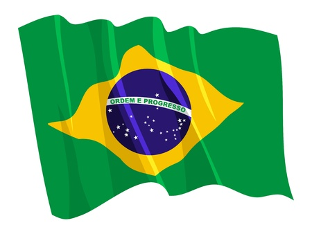 Political waving flag of Brazil
