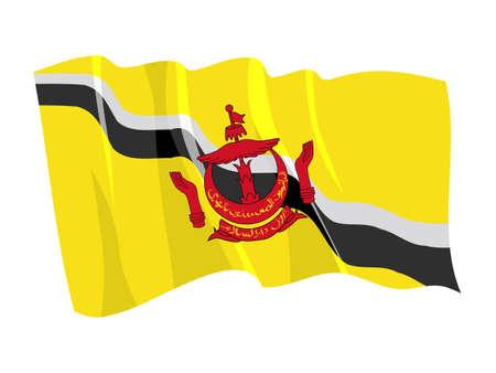 brunei: Political waving flag of Brunei
