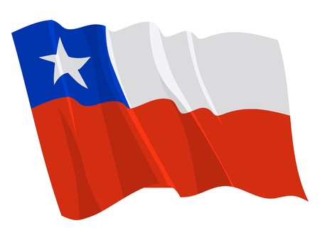 chile: Political waving flag of Chile