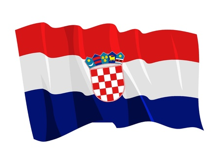 croatia: Political waving flag of Croatia