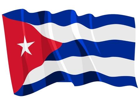 Political waving flag of Cuba