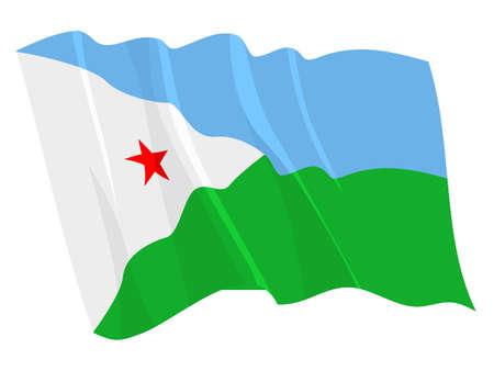 Political waving flag of Djibouti