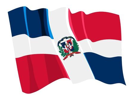 Political waving flag of Dominican Republic