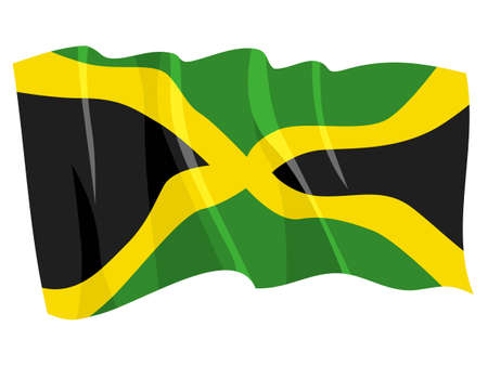 Political waving flag of Jamaica Stock Vector - 12422127