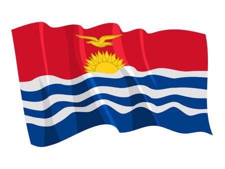 kiribati: Political waving flag of Kiribati