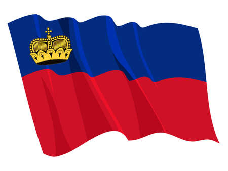 liechtenstein: Political waving flag of Liechtenstein Illustration