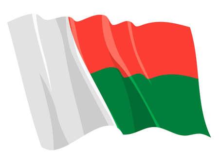 Political waving flag of Madagascar