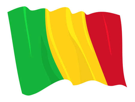 mali: Political waving flag of Mali