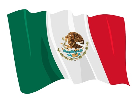 Political waving flag of Mexico Stock Vector - 12495617