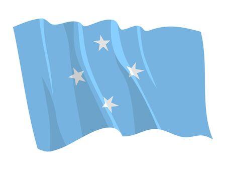 micronesia: Political waving flag of Micronesia Illustration