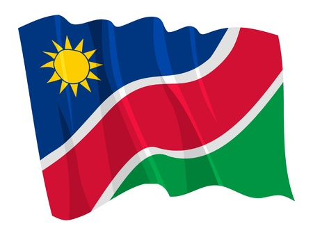 Political waving flag of Namibia