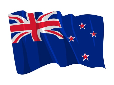 Political waving flag of New Zealand