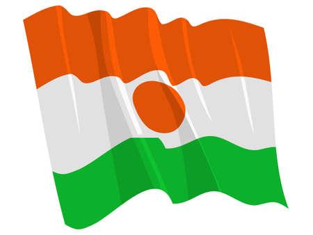 niger: Political waving flag of Niger