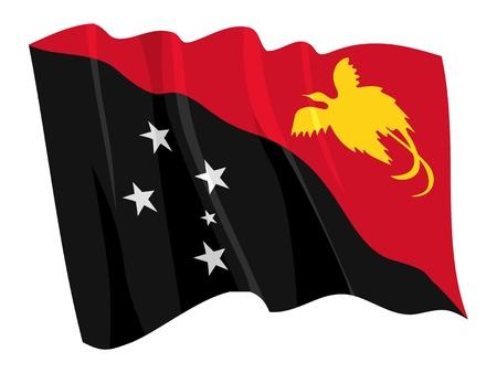 papouasie: Drapeau politique de la Papouasie-Nouvelle-Guin�e Illustration