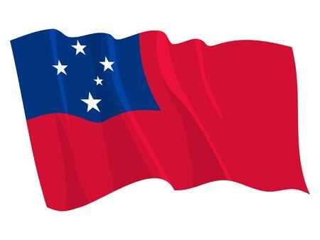 samoa: Political waving flag of Samoa