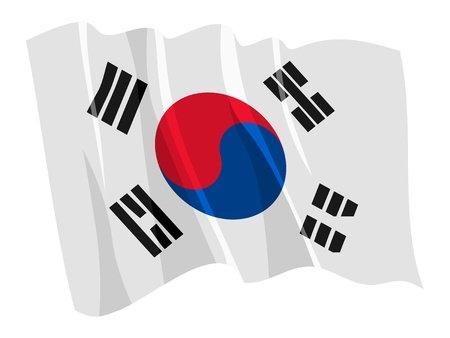 Political waving flag of South Korea